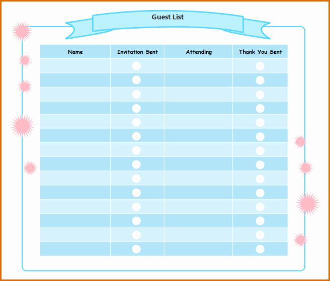 Birthday Party Guest List Template Best Of 5 Party Guest List Template