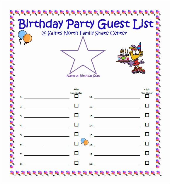Birthday Party Guest List Template Best Of 9 Guest List Samples