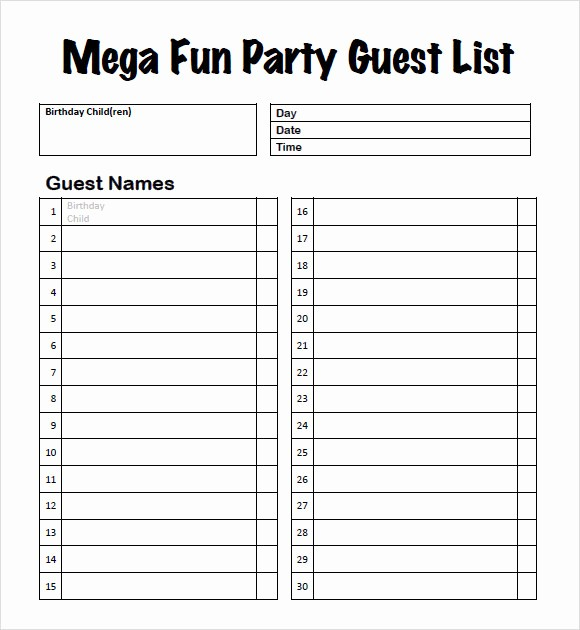 Birthday Party Guest List Template Elegant 9 Guest List Samples