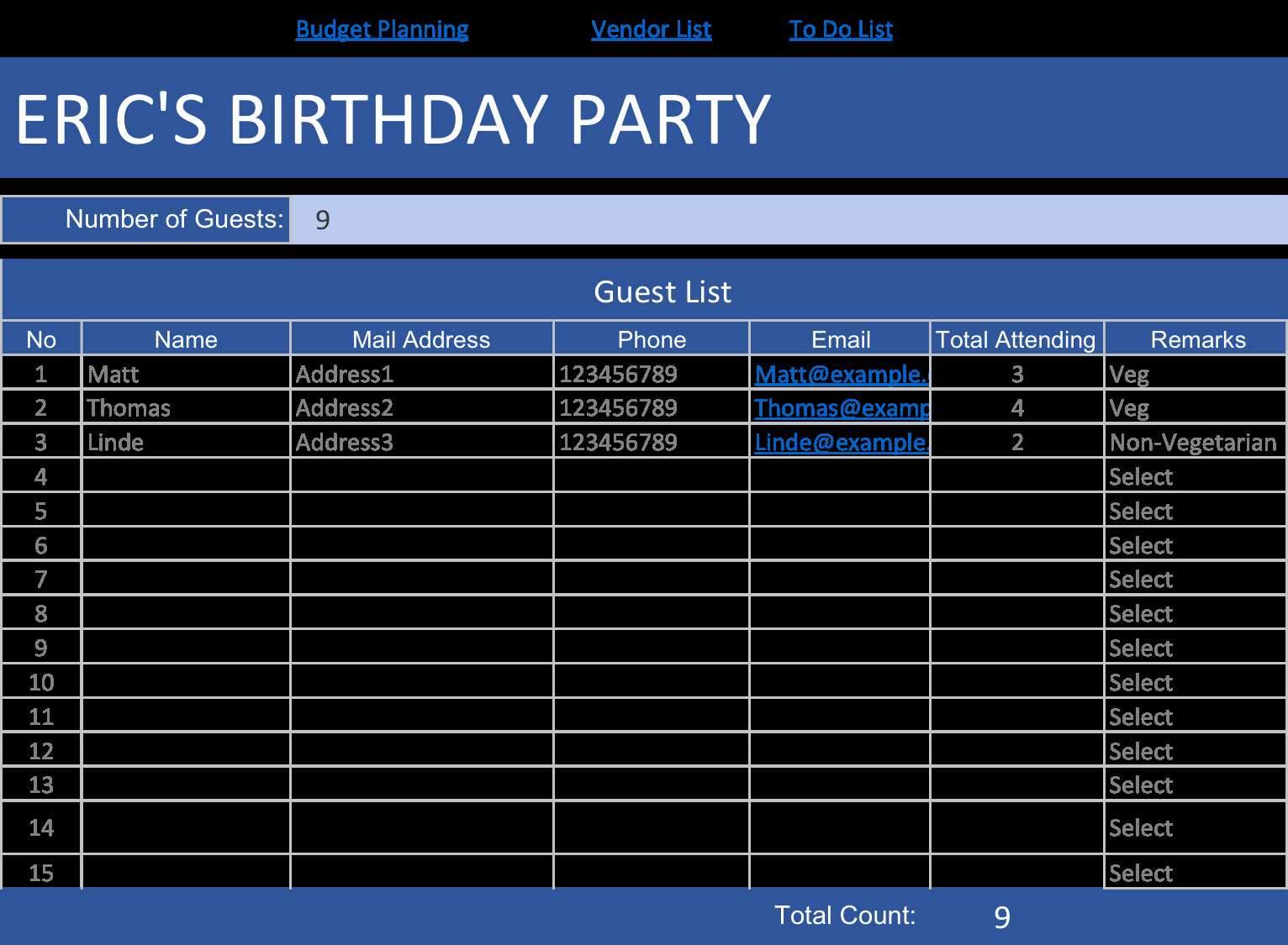 Birthday Party Guest List Template Inspirational Birthday Party Planner Template – Day2s