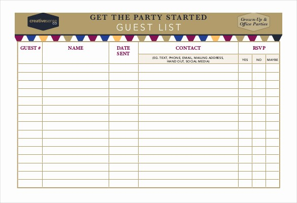 Birthday Party Guest List Template Lovely 23 Birthday List Templates Free Sample Example format