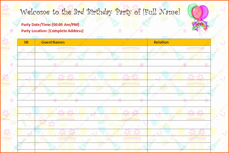 Birthday Party Guest List Template Lovely 5 Party Guest List Template Bookletemplate