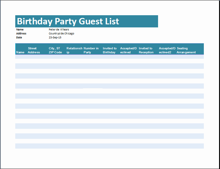 Birthday Party Guest List Template Luxury 7 Guest List Templates Excel Pdf formats
