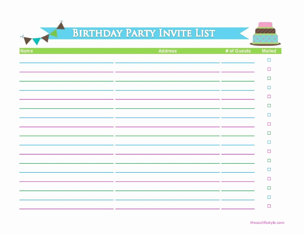 Birthday Party Guest List Template New Birthday Party Guest List Template Excel – Best Happy