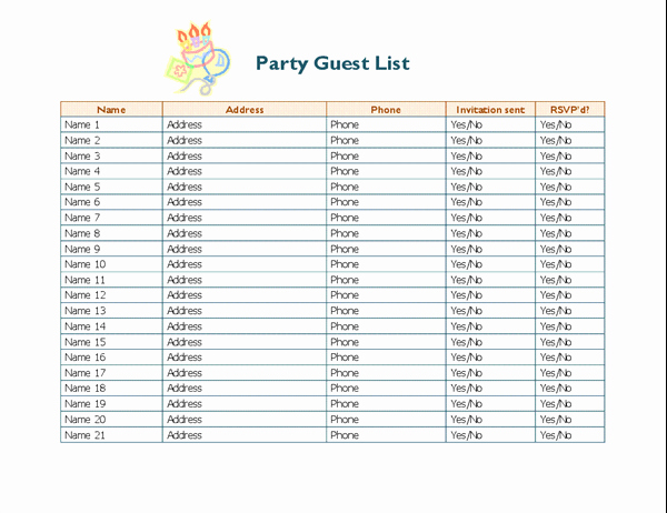 Birthday Party Guest List Template New Party Guest List