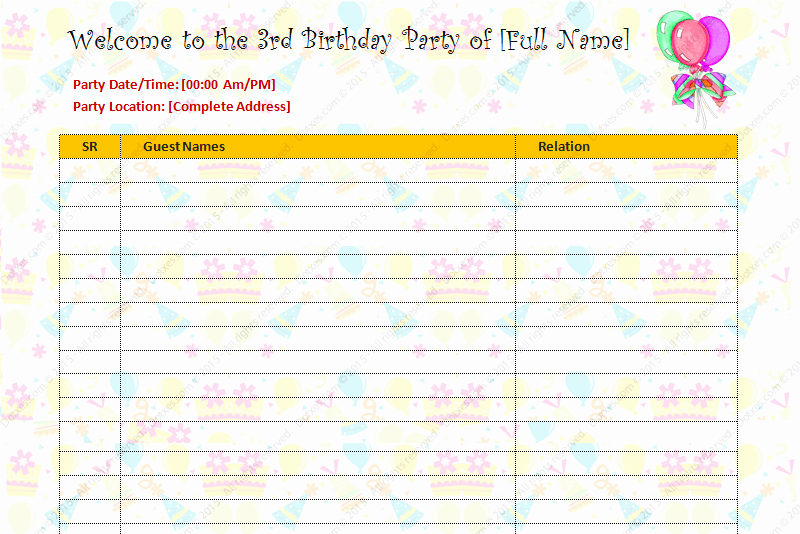 Birthday Party Guest List Template Unique Birthday Party Guest List Template Dotxes