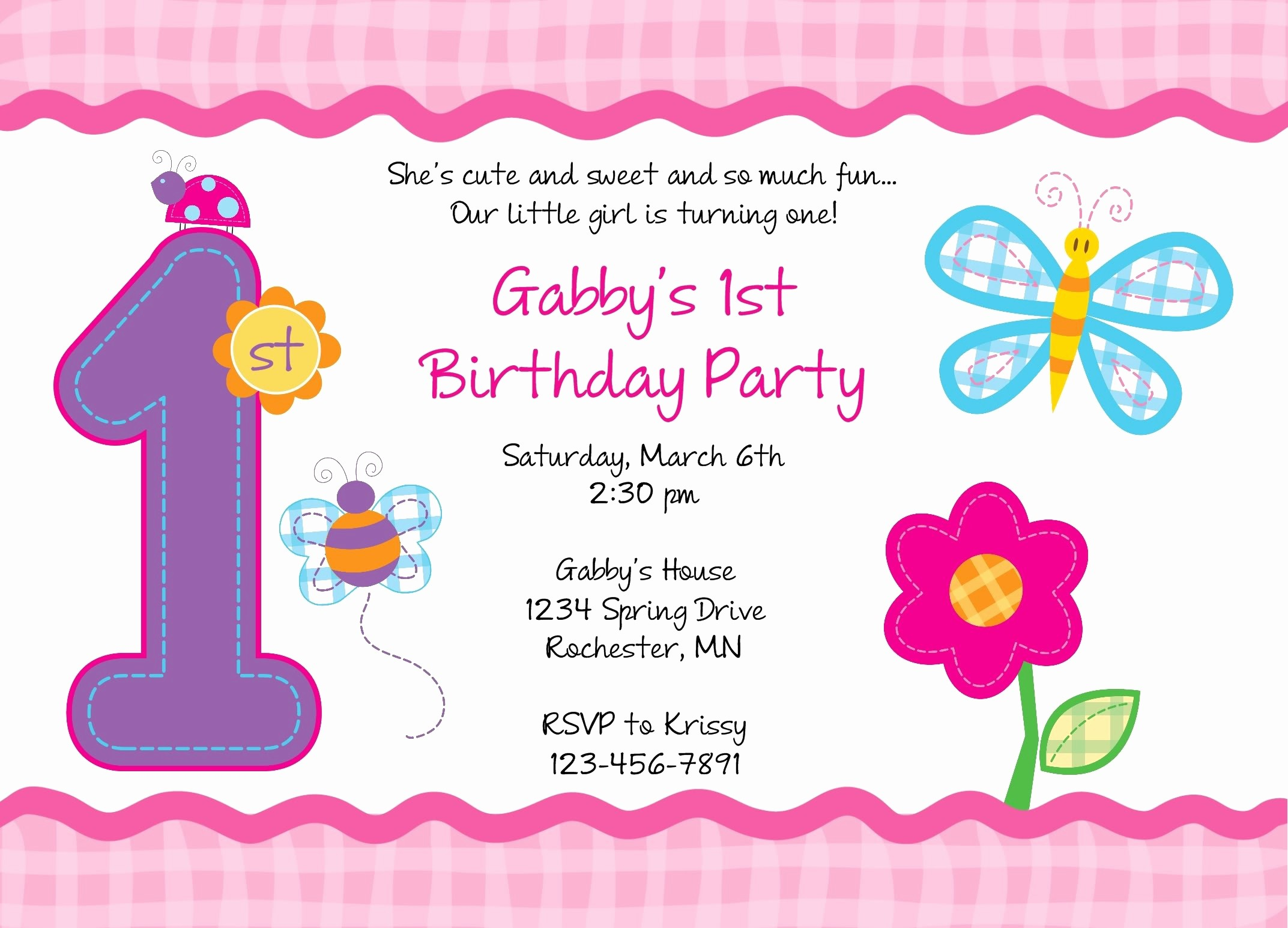Birthday Party Invitation Card Template Beautiful Editable 1st Birthday Invitation Card Free Download Jin