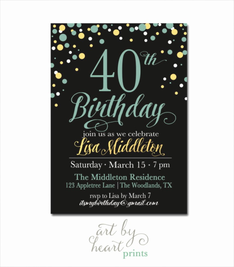 Birthday Party Invitation Card Template Best Of 40 Birthday Invitation Template – orderecigsjuicefo