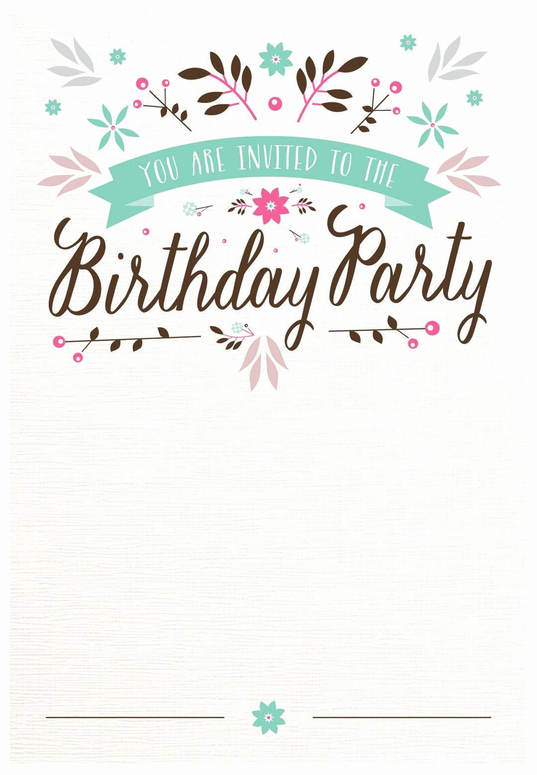 Birthday Party Invitation Card Template Elegant Flat Floral Free Printable Birthday Invitation Template
