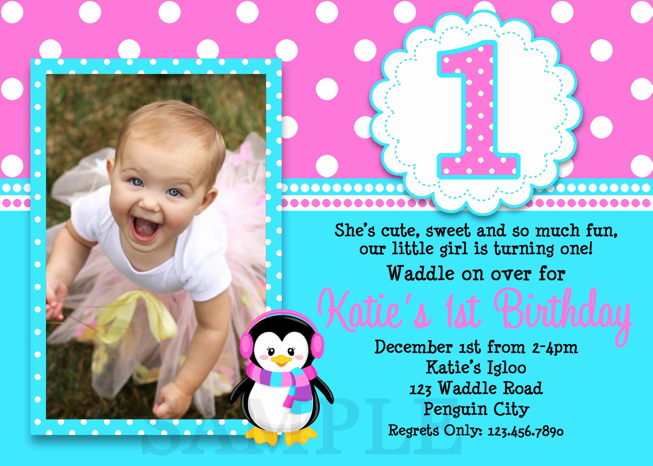 Birthday Party Invitation Card Template Fresh 1st Birthday Invitations Girl Free Template Baby Girl S