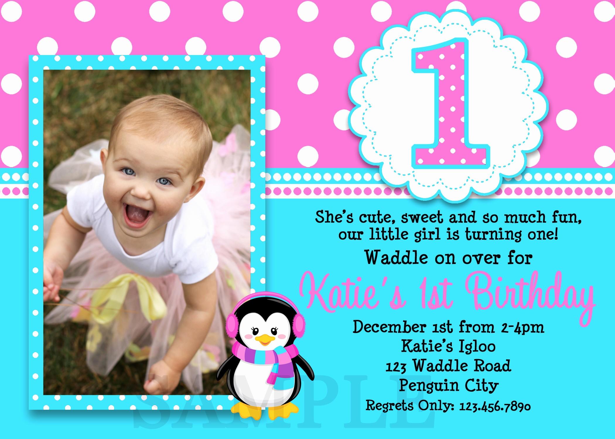 Birthday Party Invitation Card Template Fresh 1st Birthday Invitations Girl Free Template Baby Girl S