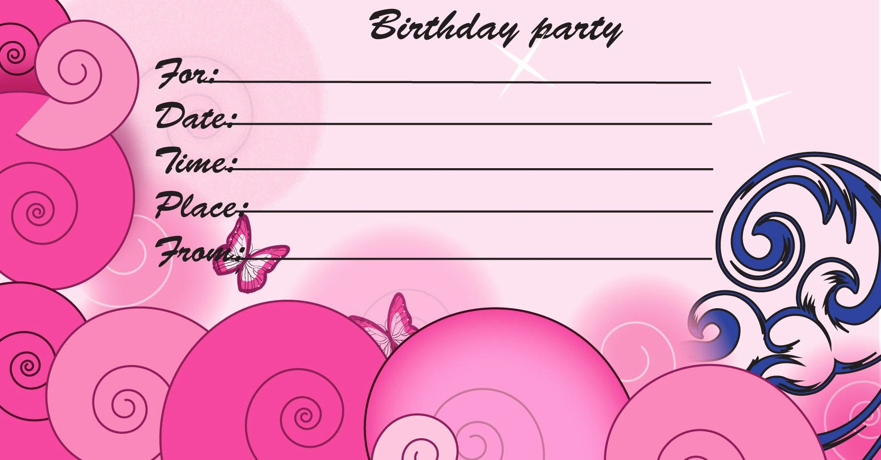 Birthday Party Invitation Card Template Fresh Birthday Invitations Kids Birthday Invite Template