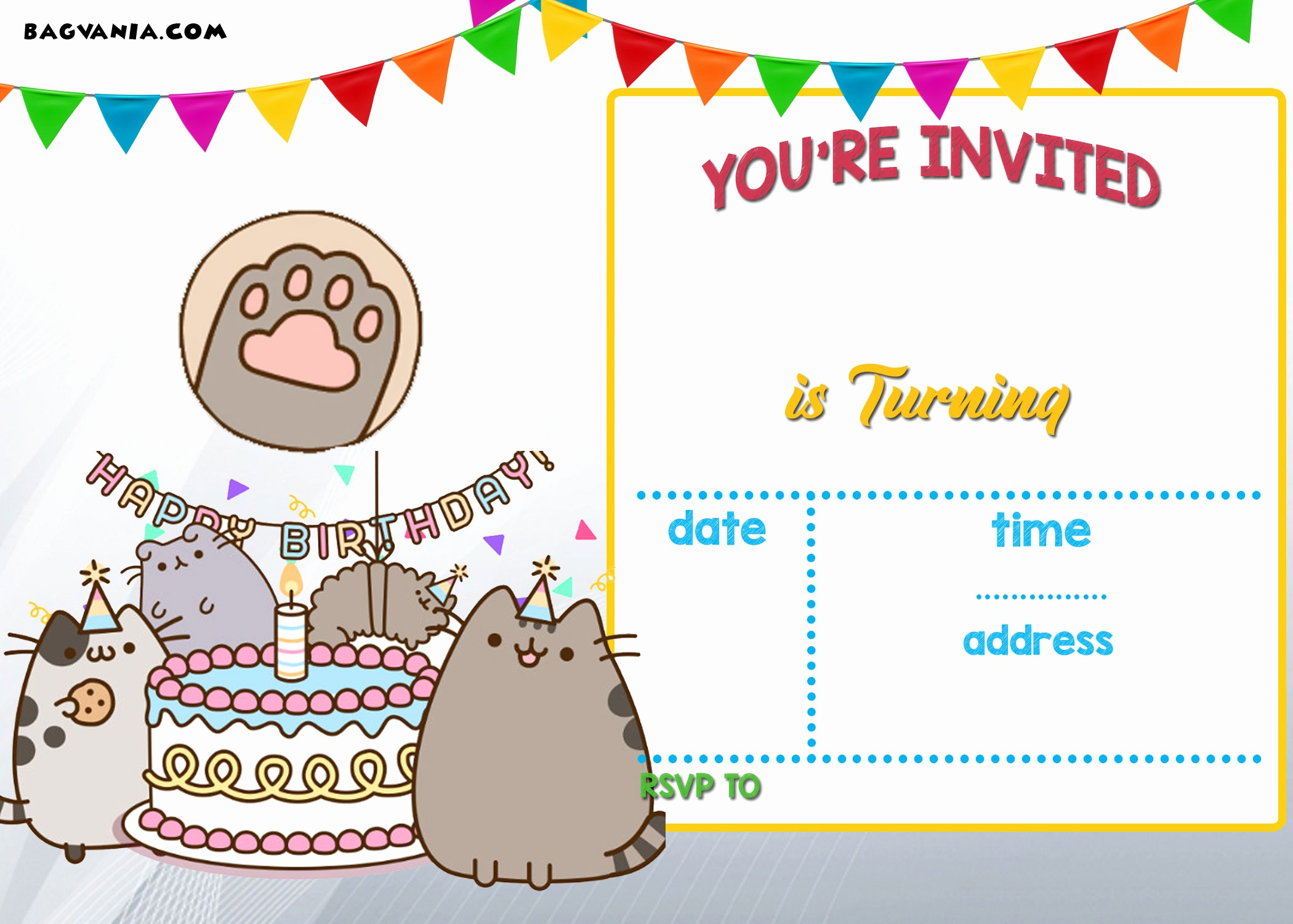 Birthday Party Invitation Card Template Fresh Free Printable Pusheen Birthday Invitation Template