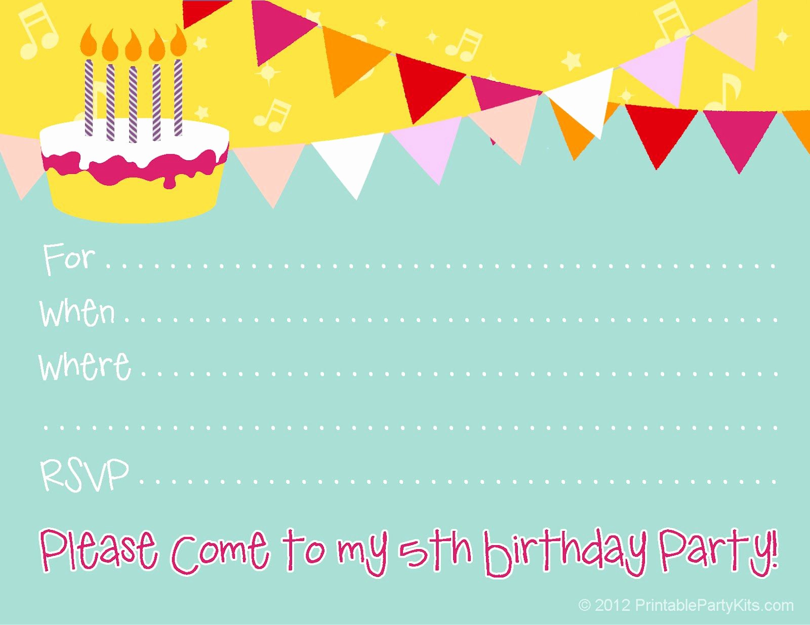 Birthday Party Invitation Card Template Inspirational Birthday Invitations Kids Birthday Invite Template