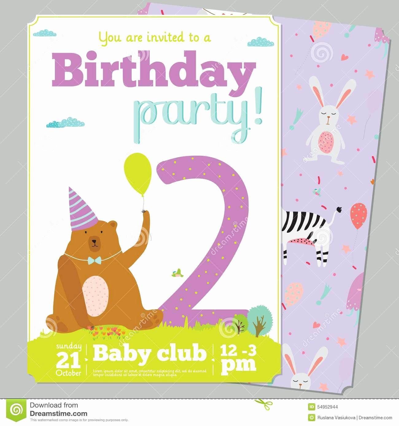 Birthday Party Invitation Card Template Inspirational Birthday Party Invitation Card Template with Cute Stock