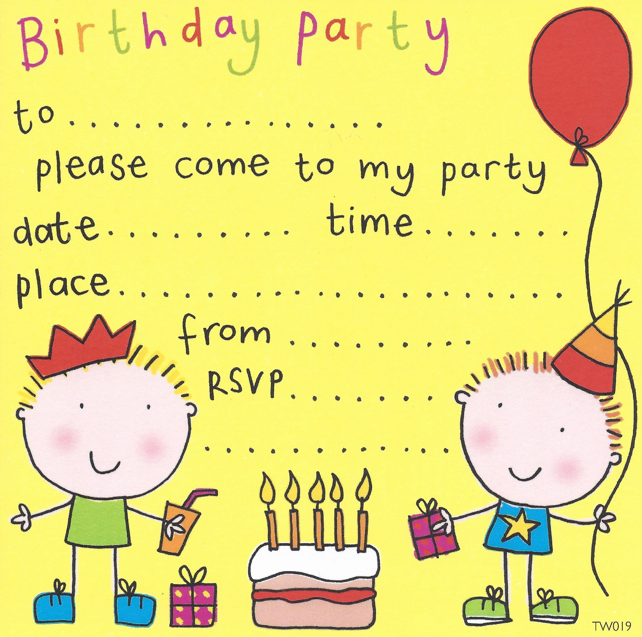 Birthday Party Invitation Card Template Inspirational Free Birthday Party Invites for Kids – Free Printable