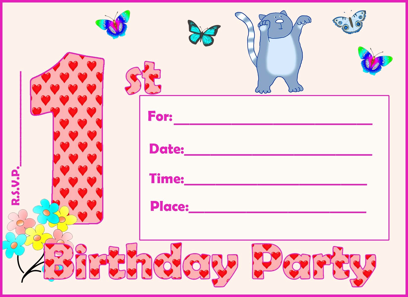 Birthday Party Invitation Card Template Lovely Card Template Summer Party Invitation Template Card