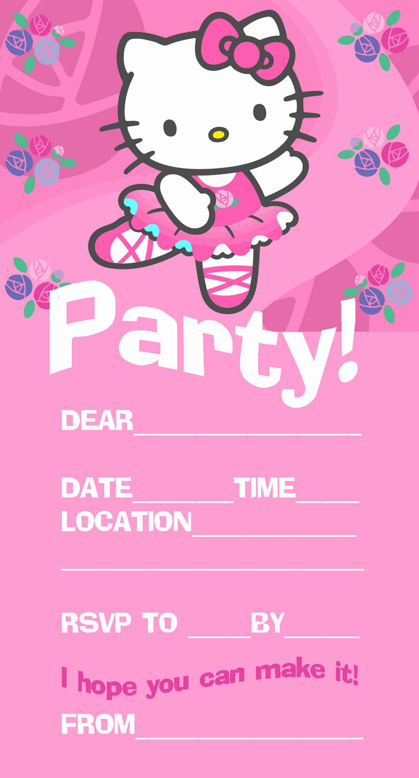 Birthday Party Invitation Card Template Unique Hello Kitty Birthday Invitation Card Template
