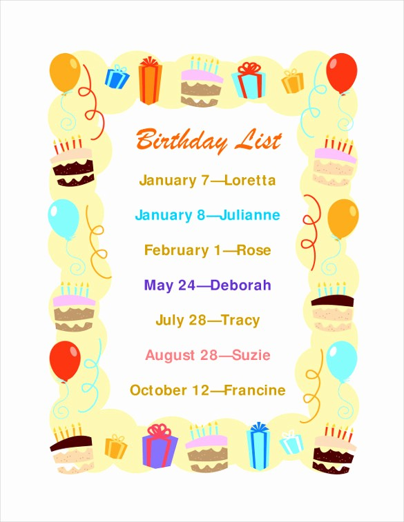 Birthday Wish List Template Printable Awesome Birthday List Template – 12 Free Psd Eps In Design