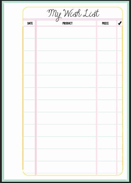Birthday Wish List Template Printable Beautiful Filofax Wish List Printable
