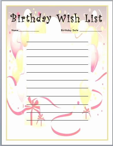 Birthday Wish List Template Printable Best Of Printable Birthday Wish List Template – Best Happy