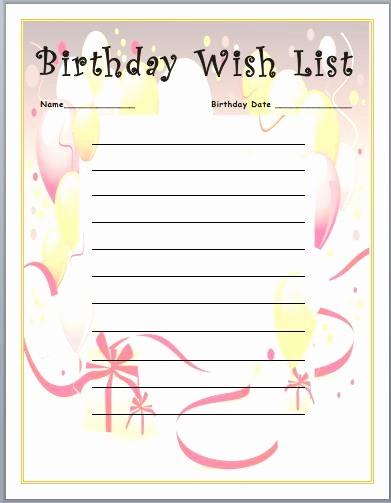 Birthday Wish List Template Printable Best Of Printable Birthday Wish List Template – Best Happy