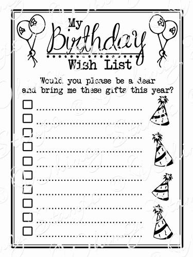 Birthday Wish List Template Printable Fresh 4 Best Of Birthday Gift List Printable Free