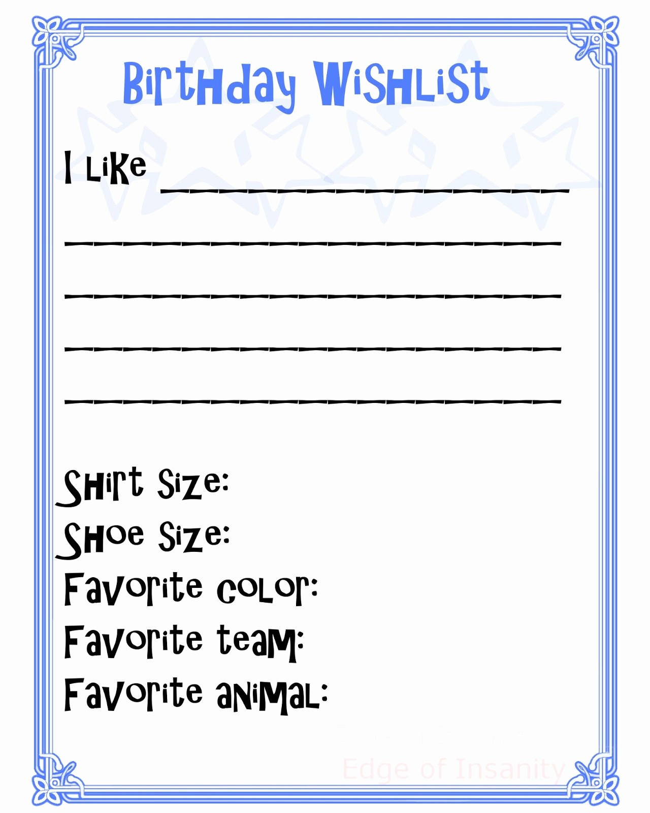 Birthday Wish List Template Printable Fresh 6 Best Of Wish List Printable Free Printable