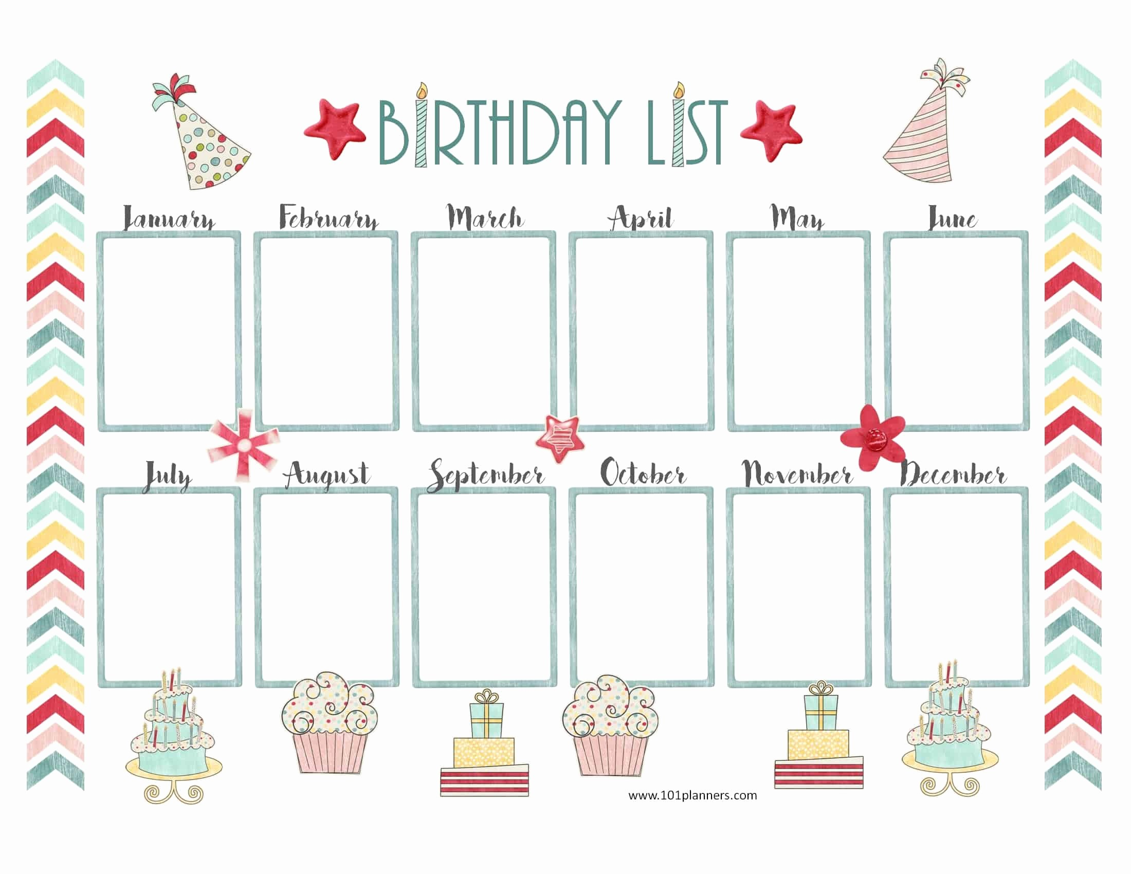 Birthday Wish List Template Printable Fresh Free Birthday Calendar