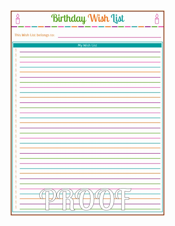Birthday Wish List Template Printable Fresh Printable Birthday Wish List Template Happy Birthday Wishes