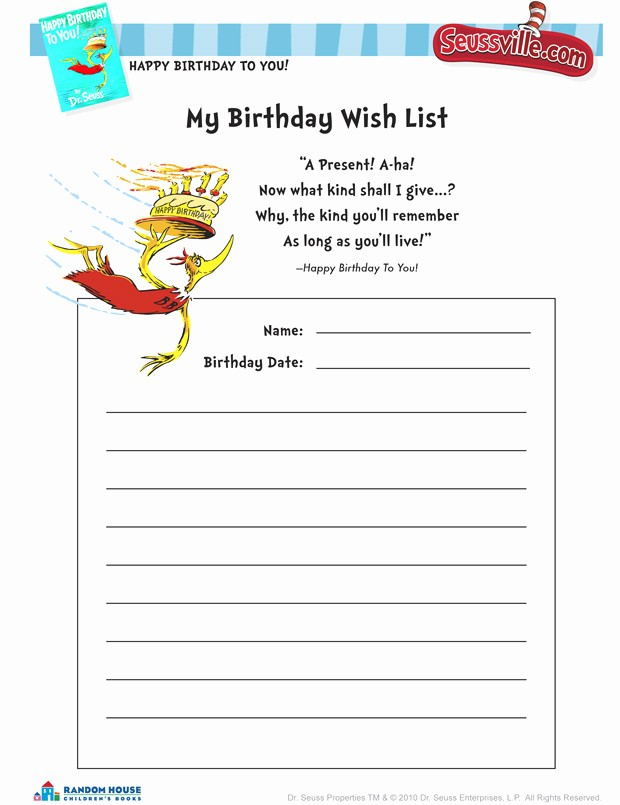 Birthday Wish List Template Printable New 5 Best Of Birthday Wish List Template Printable