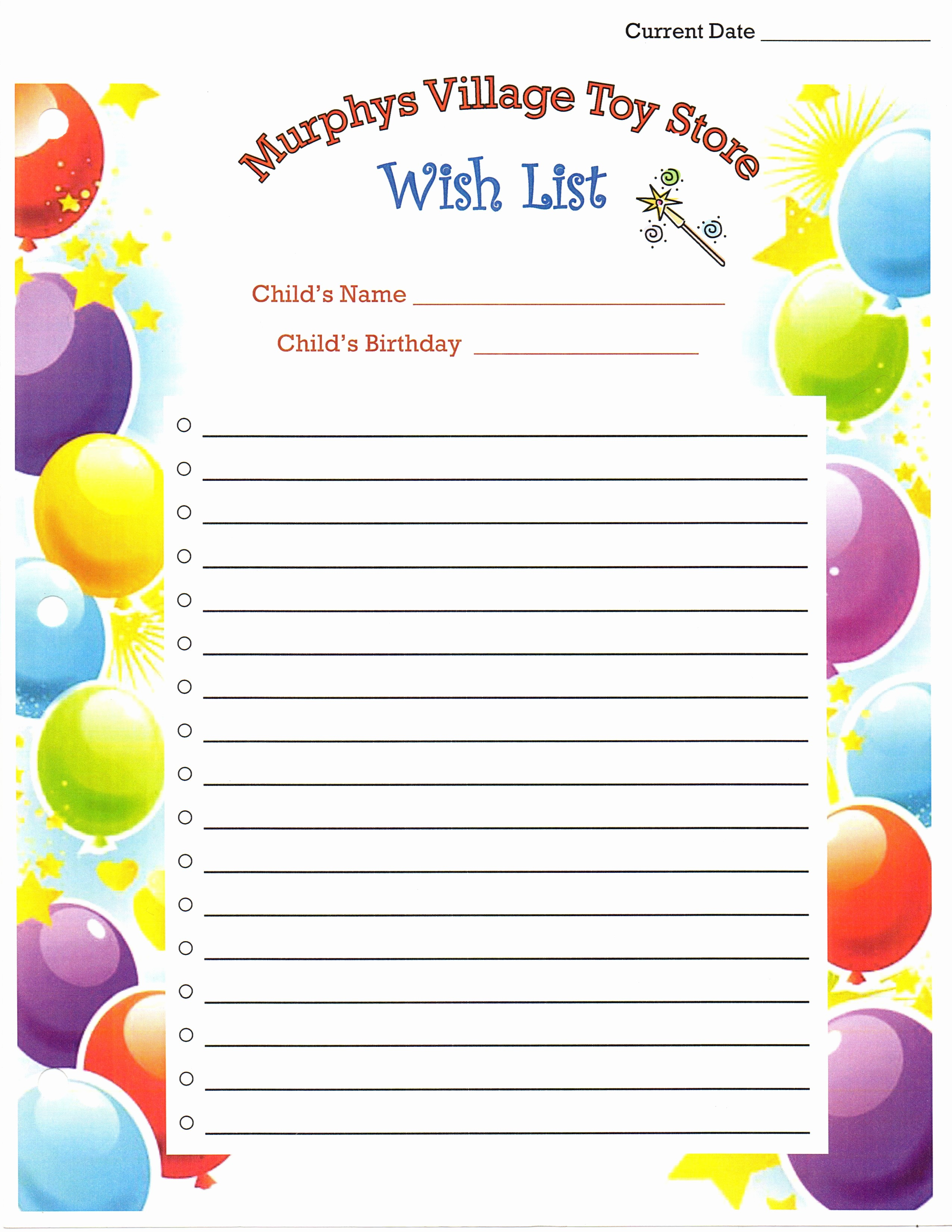 Birthday Wish List Template Printable New 7 Best Of Printable Birthday List Out Printable