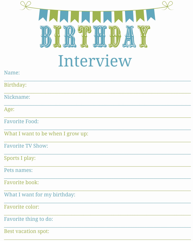 Birthday Wish List Template Printable New Birthday Interview Printable Living A Sunshine Life