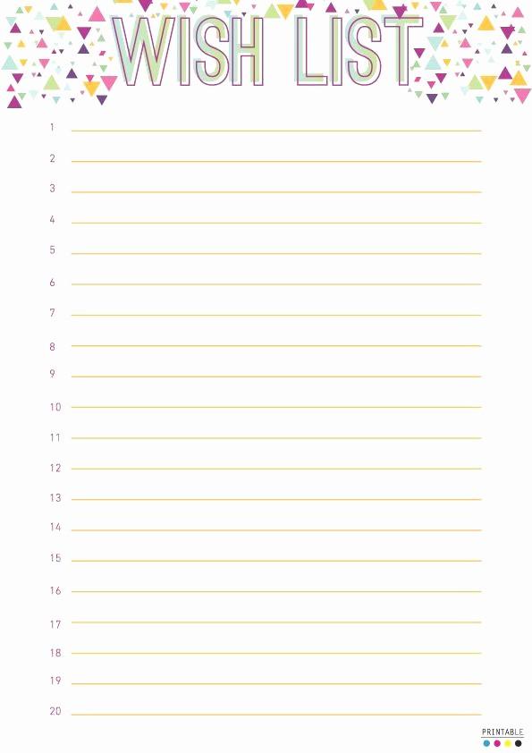 Birthday Wish List Template Printable Unique 20 Fresh Birthday Wish List Template