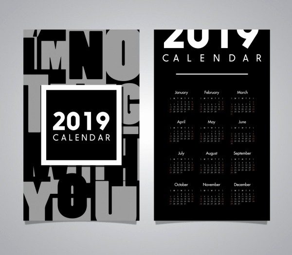 Black and White Calendar Template Awesome Vector Calendar for Free About 891 Vector