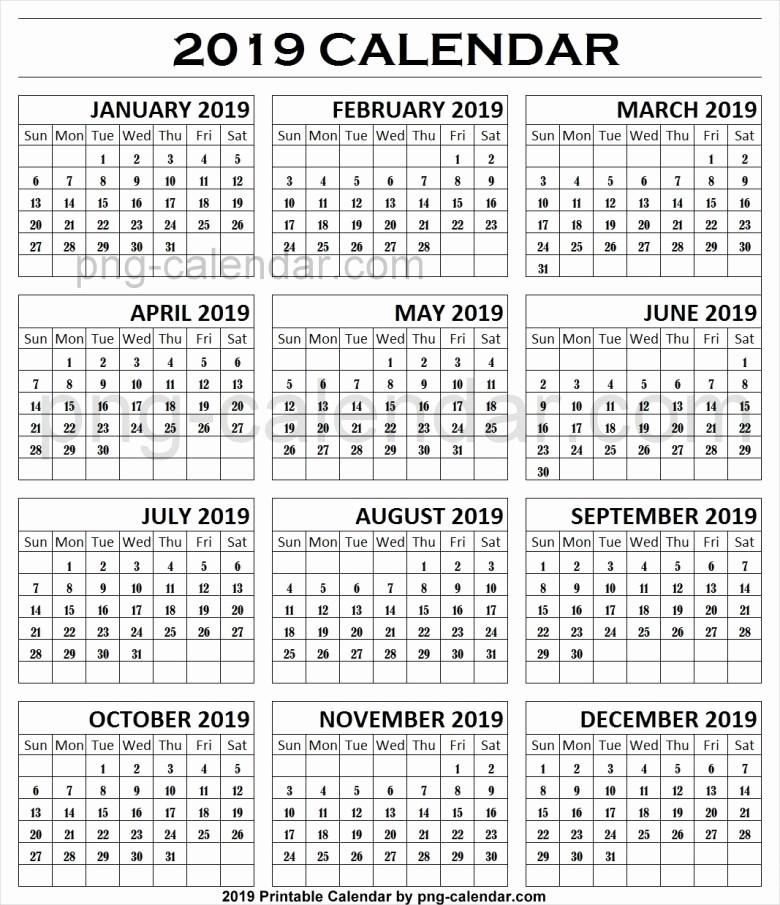 Black and White Calendar Template Beautiful 2019 Black and White Calendar Template