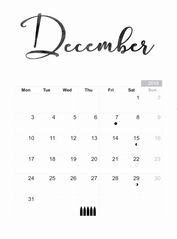Black and White Calendar Template Beautiful December 2018 Blank Template Calendar