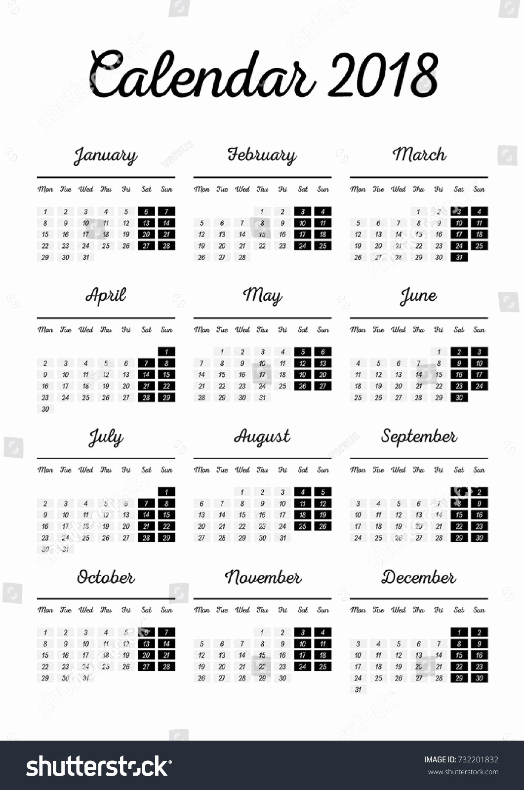 Black and White Calendar Template Beautiful Retro Black White 2018 Calendar Template Stock Vector