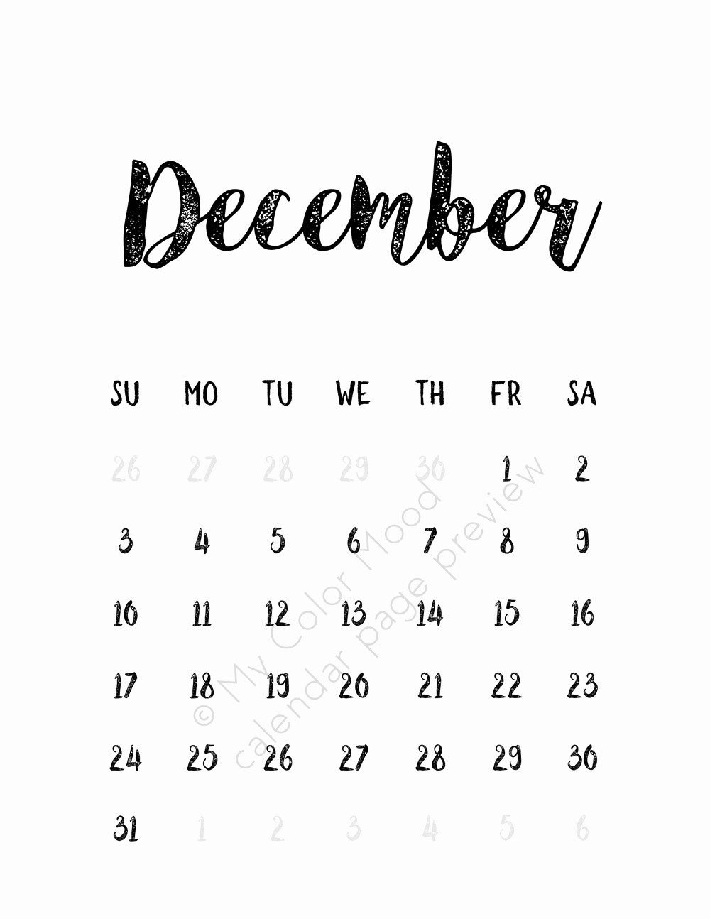 Black and White Calendar Template Best Of December 2017 Calendar Black and White