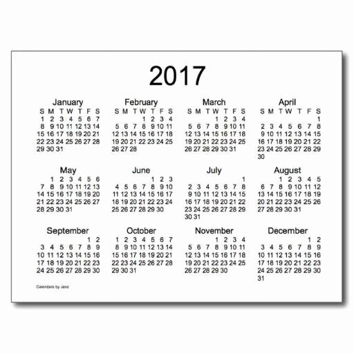 Black and White Calendar Template Elegant 2017 Black and White Calendars