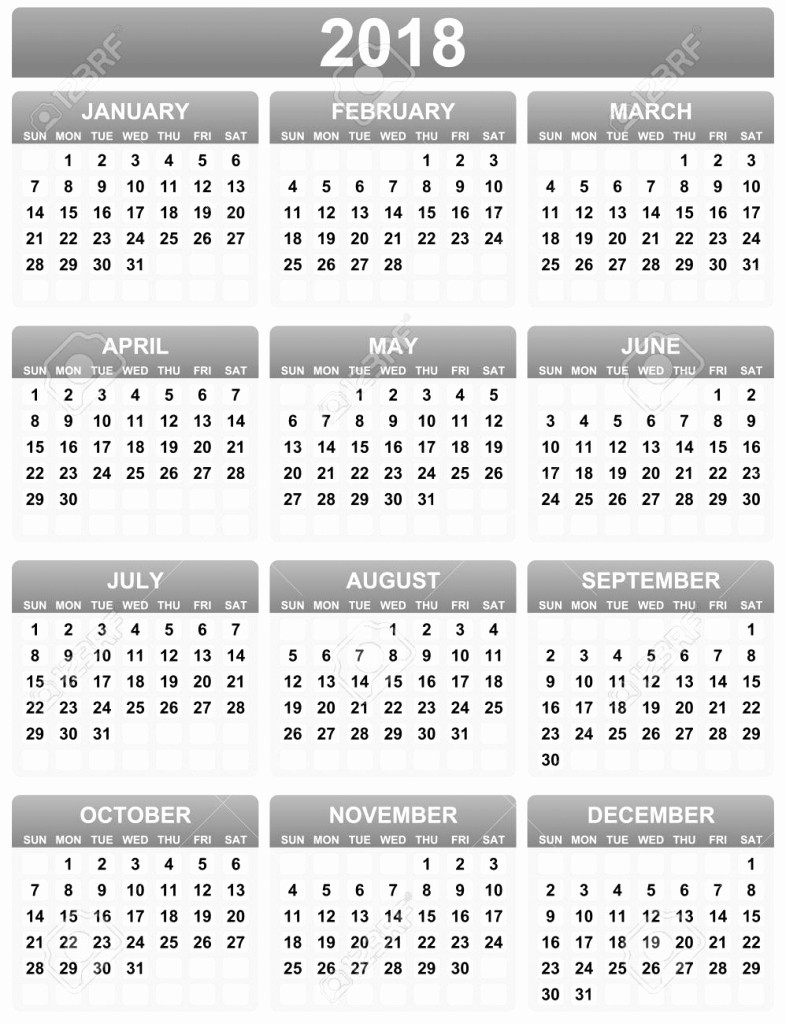 Black and White Calendar Template Fresh Black and White Calendar 2018 Template