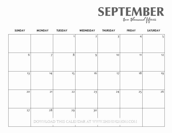 Black and White Calendar Template Inspirational All Lovely 10 Free Calendars for September 2015
