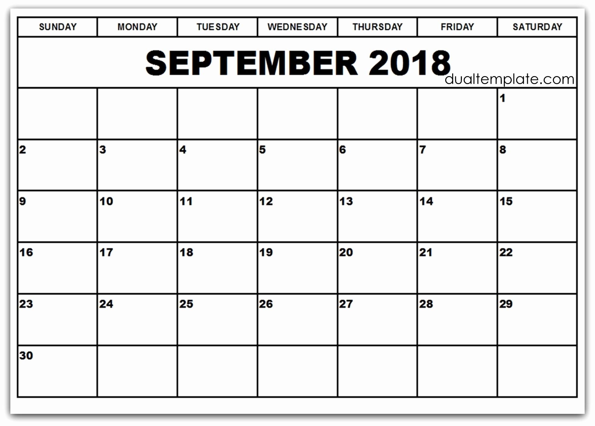 Black and White Calendar Template Inspirational September Calendar 2018 Cute Black and White – Calendar