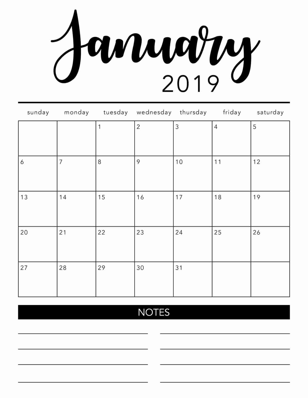 Black and White Calendar Template Lovely Free 2019 Printable Calendar Template 2 Colors I