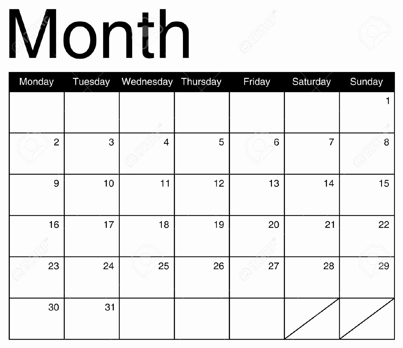 Black and White Calendar Template Lovely Monthly Calendar – 2017 Printable Calendar