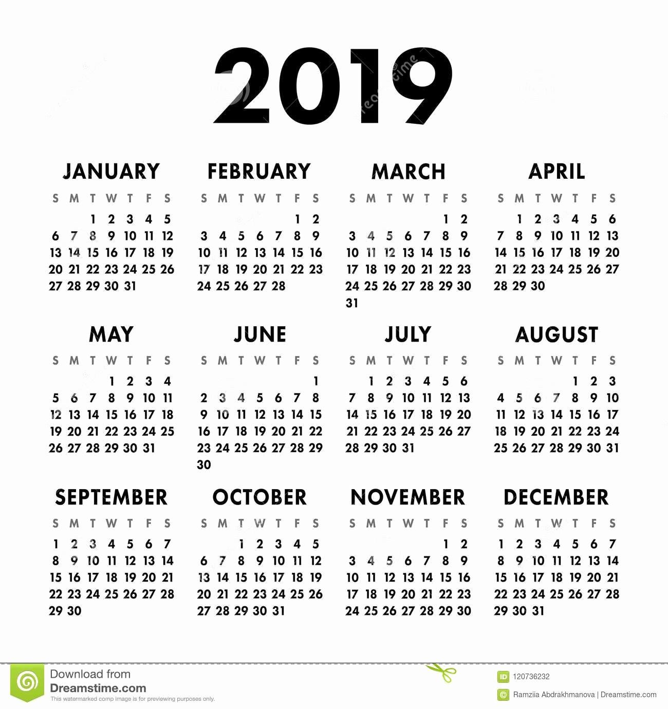 Black and White Calendar Template Luxury Calendar 2019 Year Black and White Vector Template Week