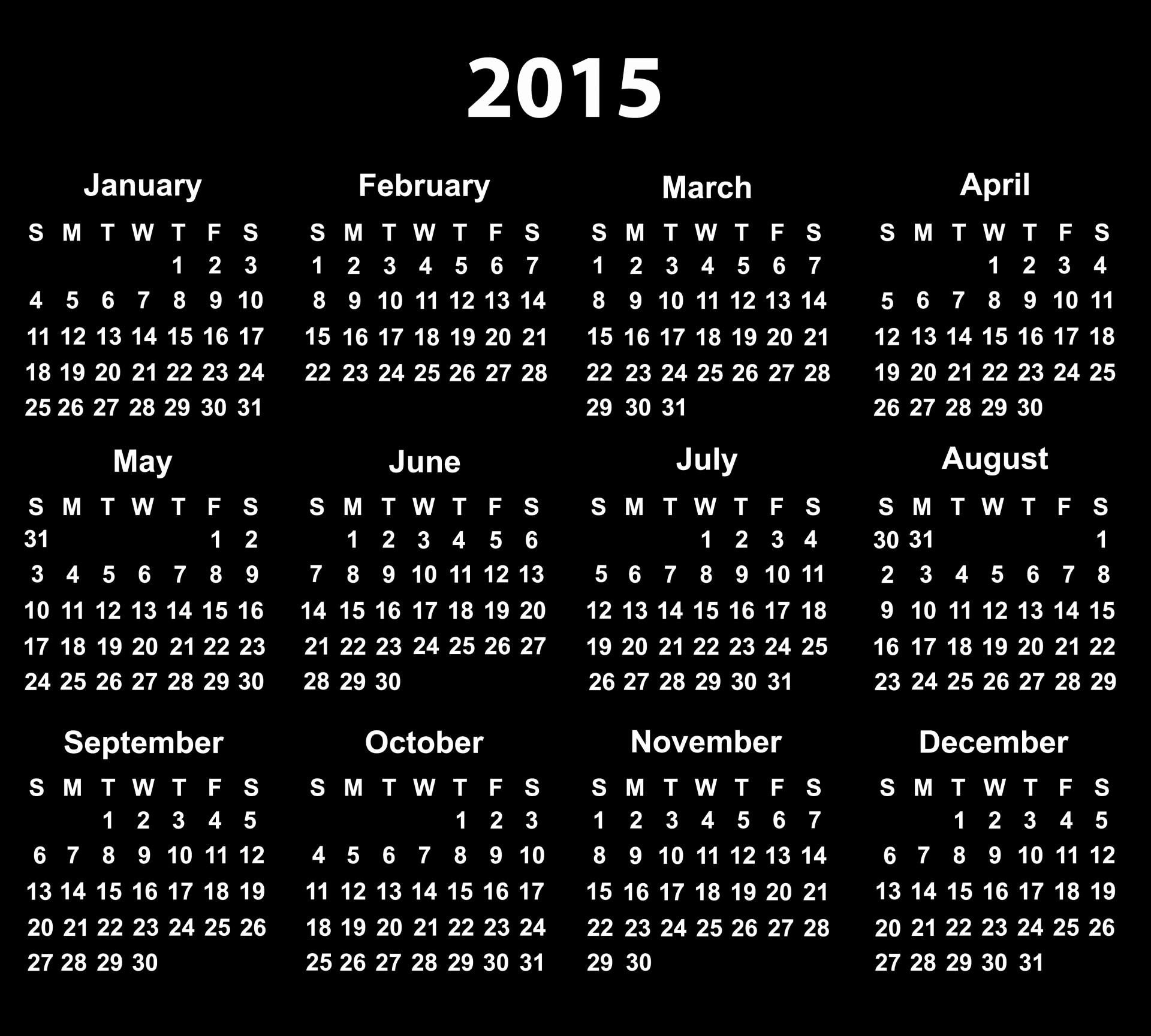 Black and White Calendar Template New 2015 Calendar Free Stock Public Domain