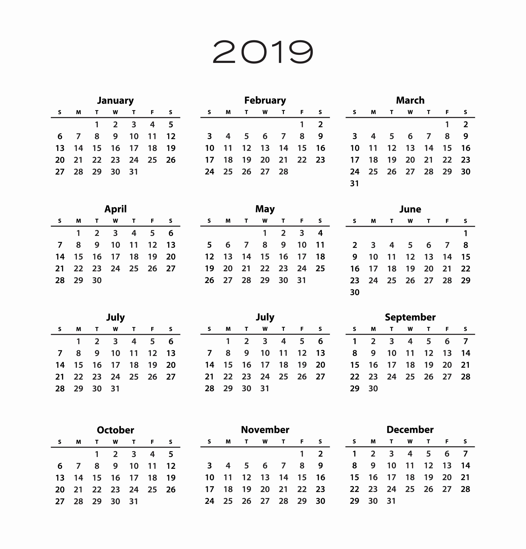 Black and White Calendar Template New 2019 Calendar Template Free Stock Public Domain