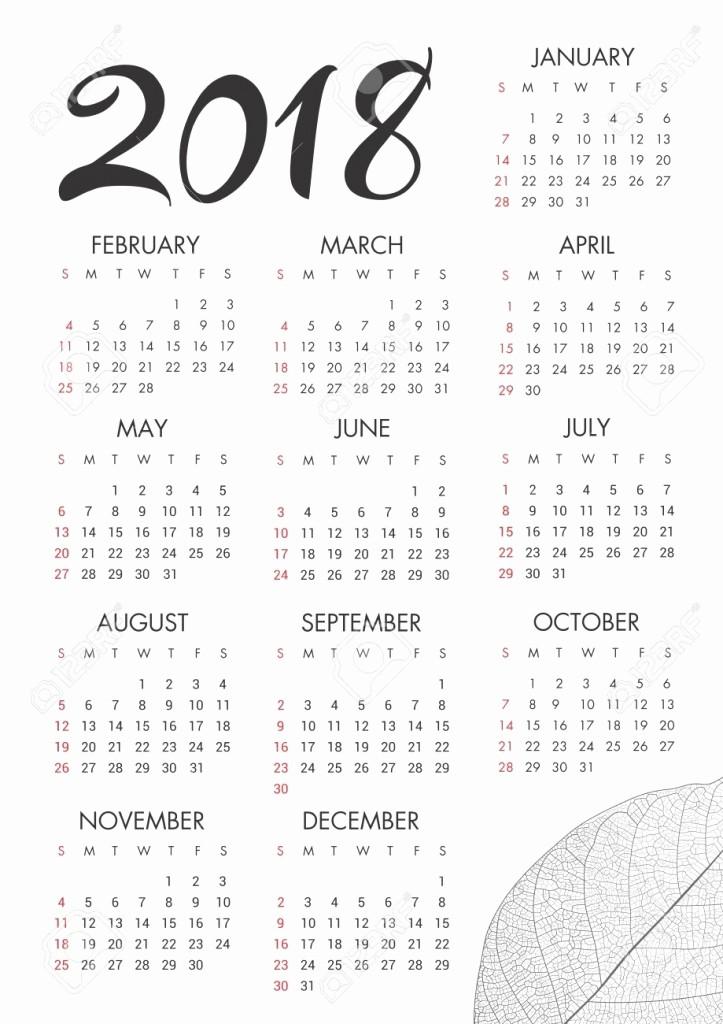 Black and White Calendar Template Unique Black and White Calendar 2018 Template