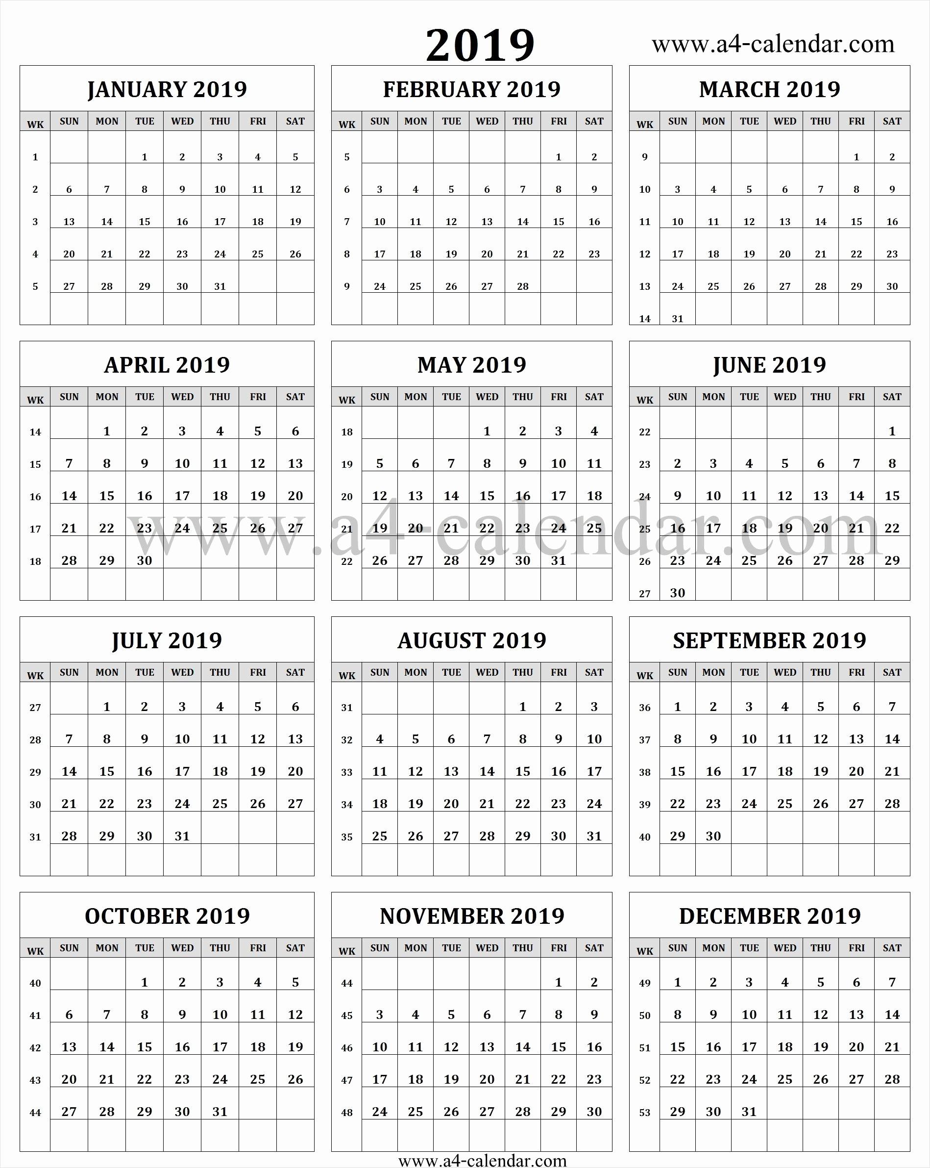 Black and White Calendar Template Unique Calendar 2019 In Weeks